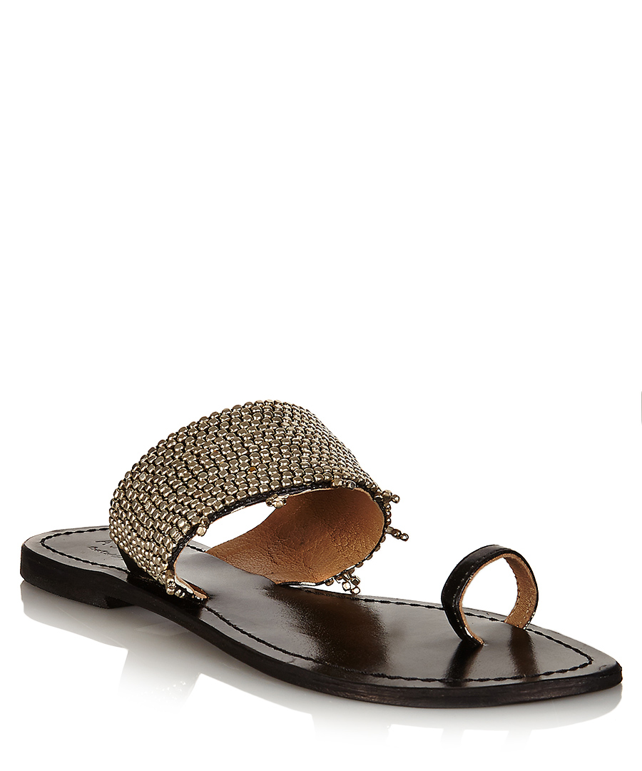 Luna silver and black leather sandals Sale - Aspiga