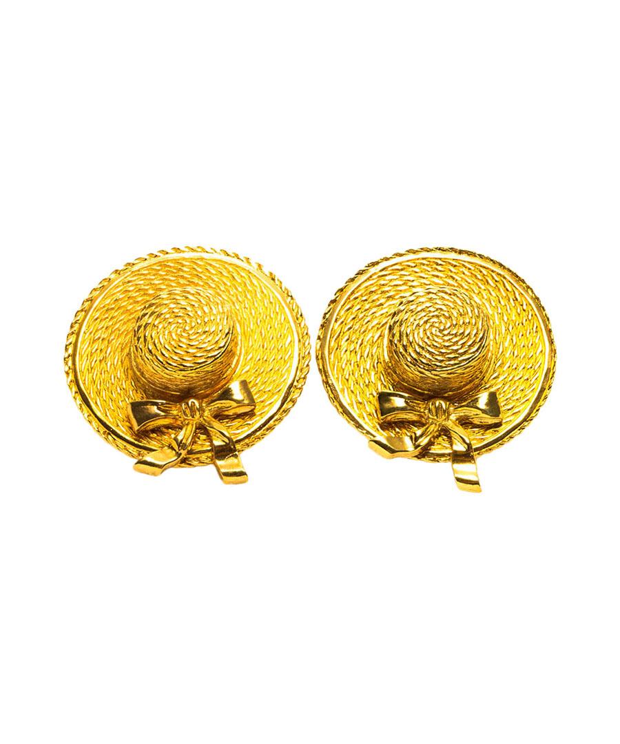 Gold-tone boat hat clip-on earrings Sale - Chanel