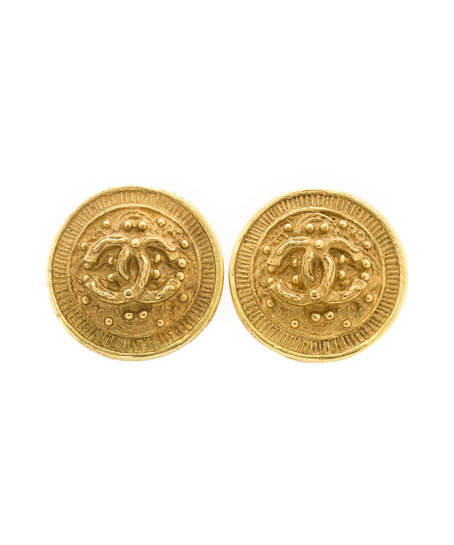 Gold-tone coin earrings Sale - Chanel