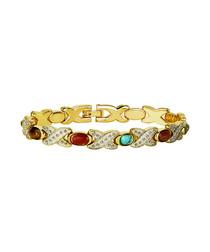 Gold-plated Swarovski & stone bracelet
