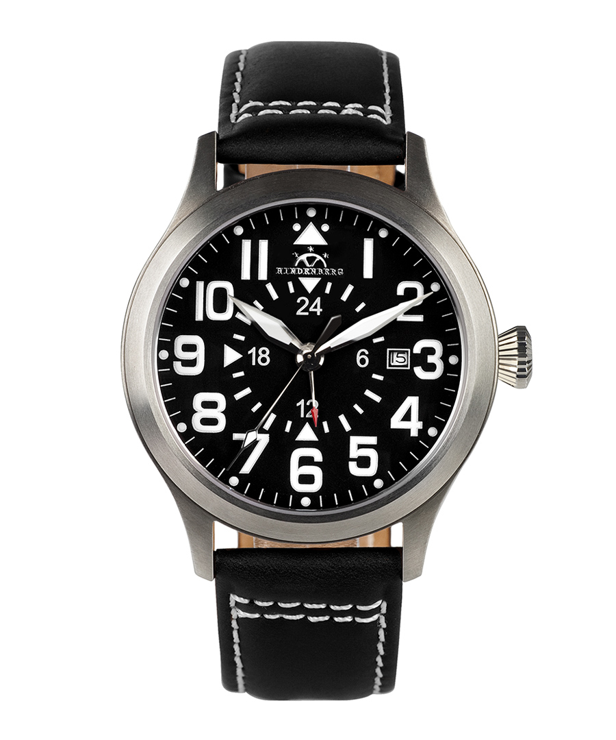 Air Rider black dial leather watch Sale - hindenberg