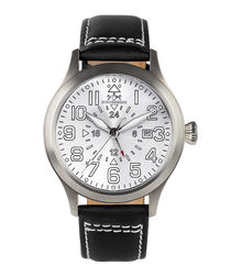 Air Rider steel dial leather watch