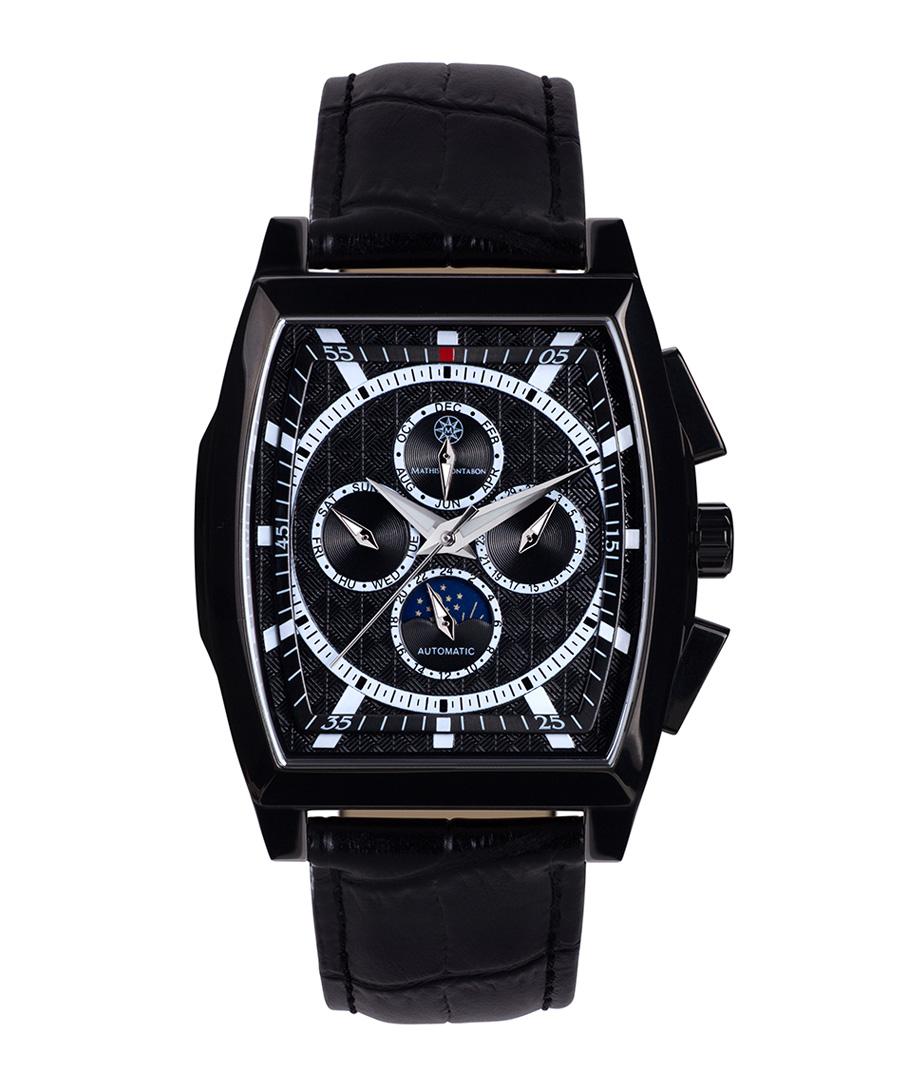 Carree black steel & leather watch Sale - mathis montabon
