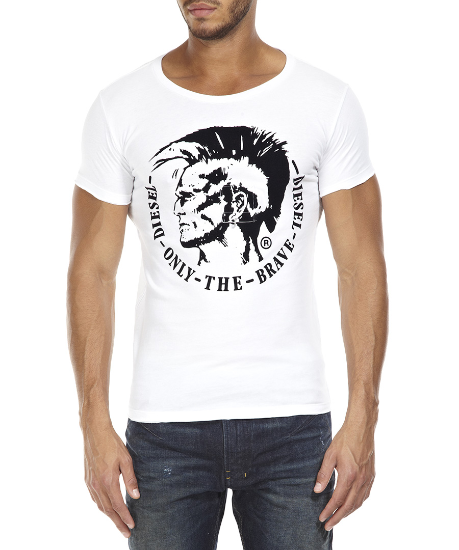Diesel white printed t shirt designer topwear sale for Diesel tee shirts sale