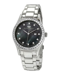 Maxima steel & mother-of-pearl watch