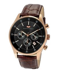 Goodwill rose gold-tone & brown watch