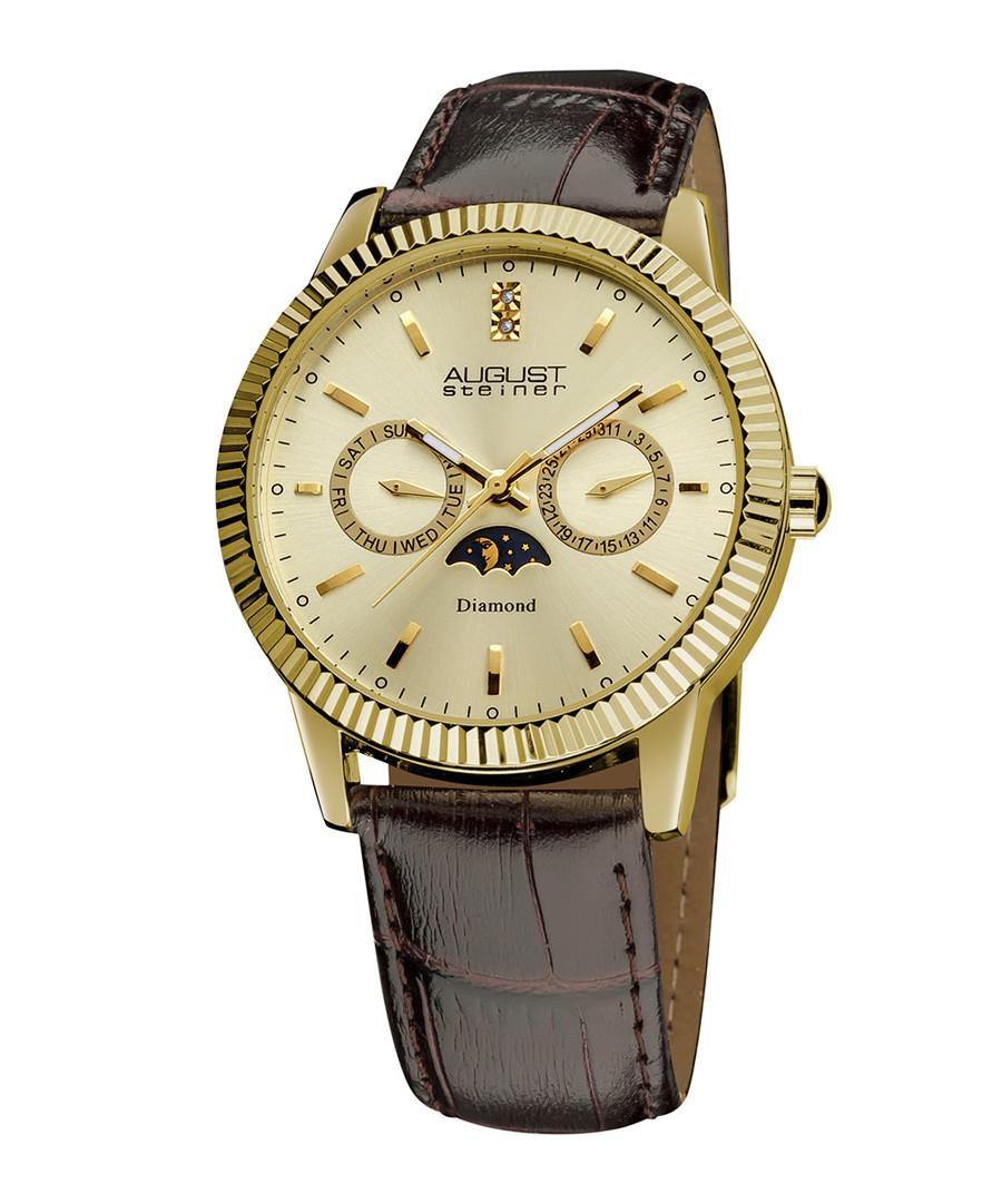 Brown moc-croc & crystal watch Sale - august steiner
