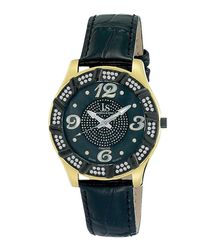 Gold-tone case leather watch