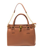 Tan leather lock tote bag