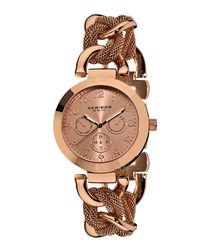 Rose mesh link bracelet watch