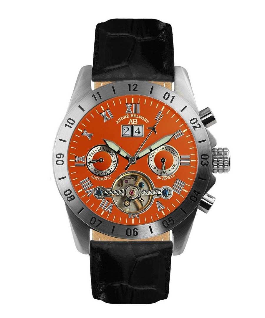 Galactique orange & leather watch Sale - andre belfort