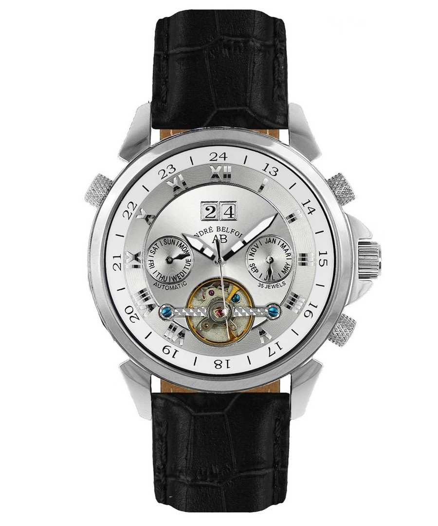 Étoile Polaire black leather watch Sale - andre belfort