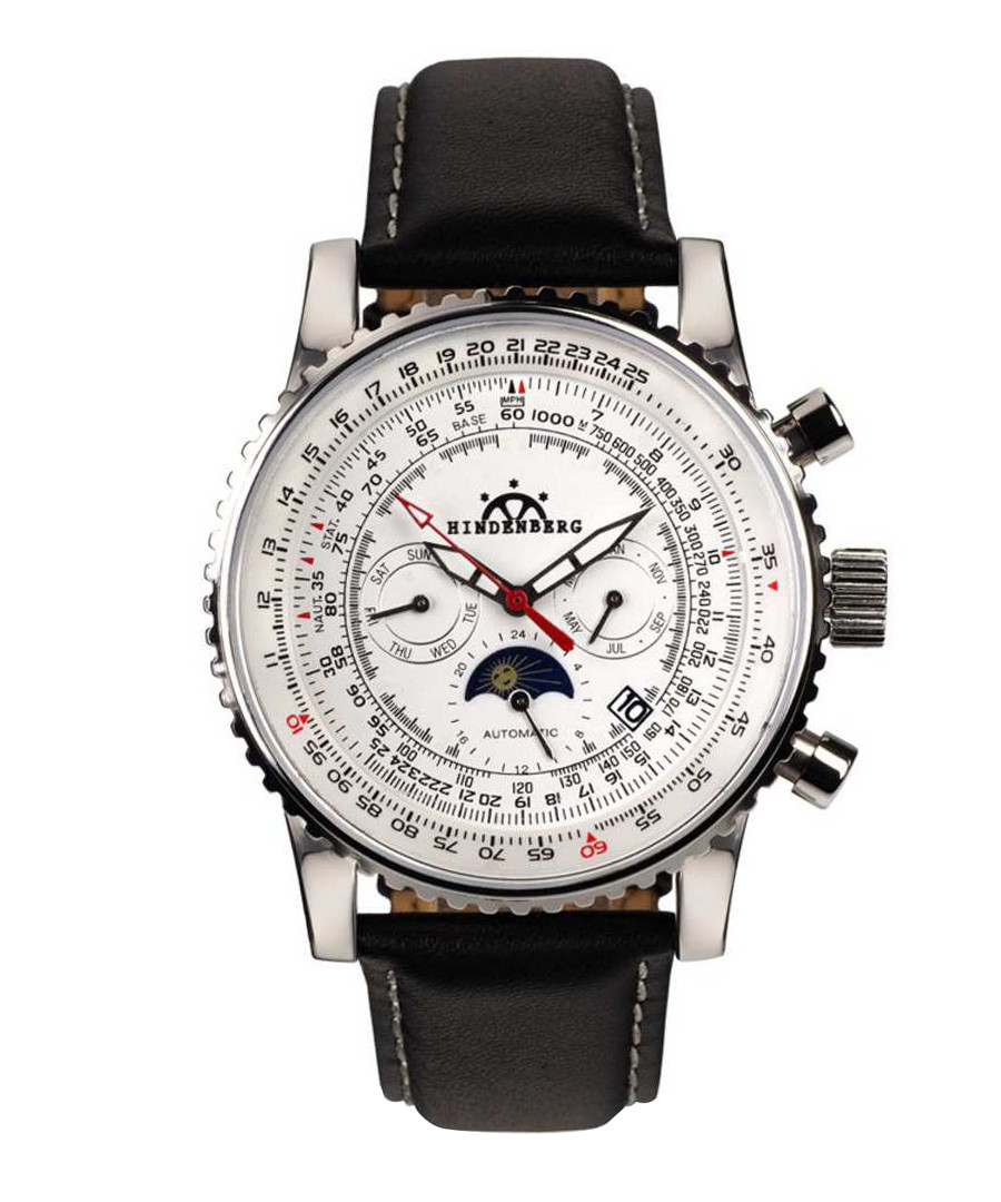 Air Fighter black leather watch Sale - hindenberg
