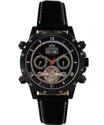 Conqueror black leather watch