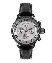 Aviateur black leather watch