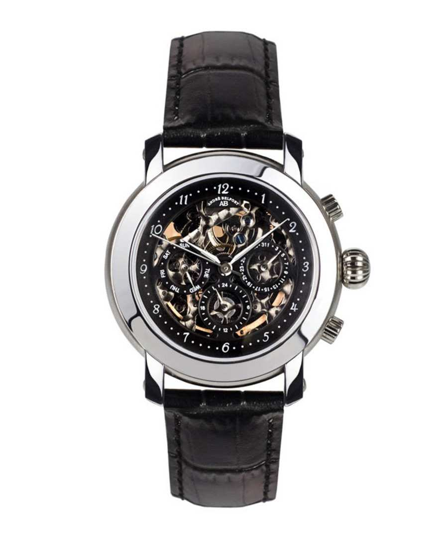 Intemporelle black leather watch Sale - andre belfort
