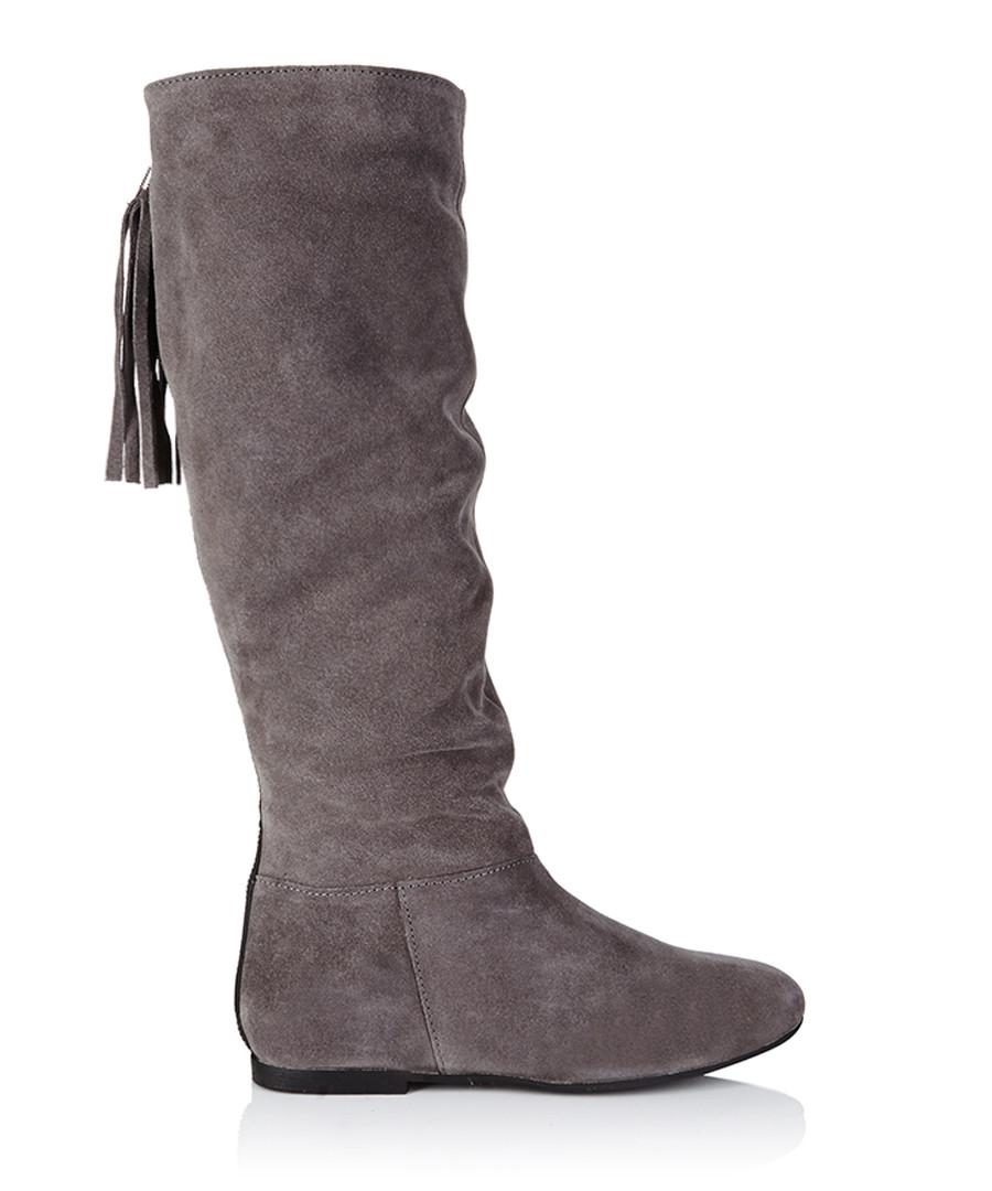 Dark grey faux suede 'Gen' high block heel wide fit ankle boots.