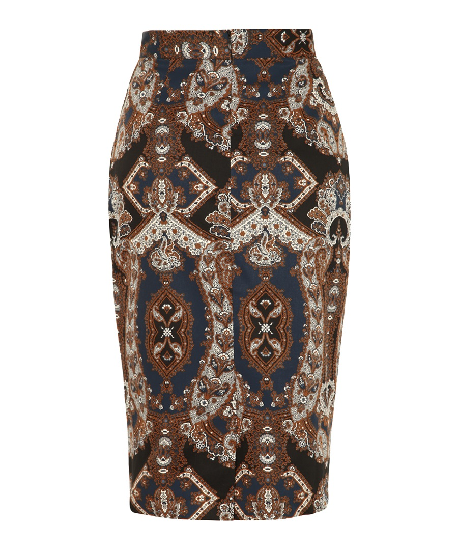 discount paisley printed pencil skirt secretsales
