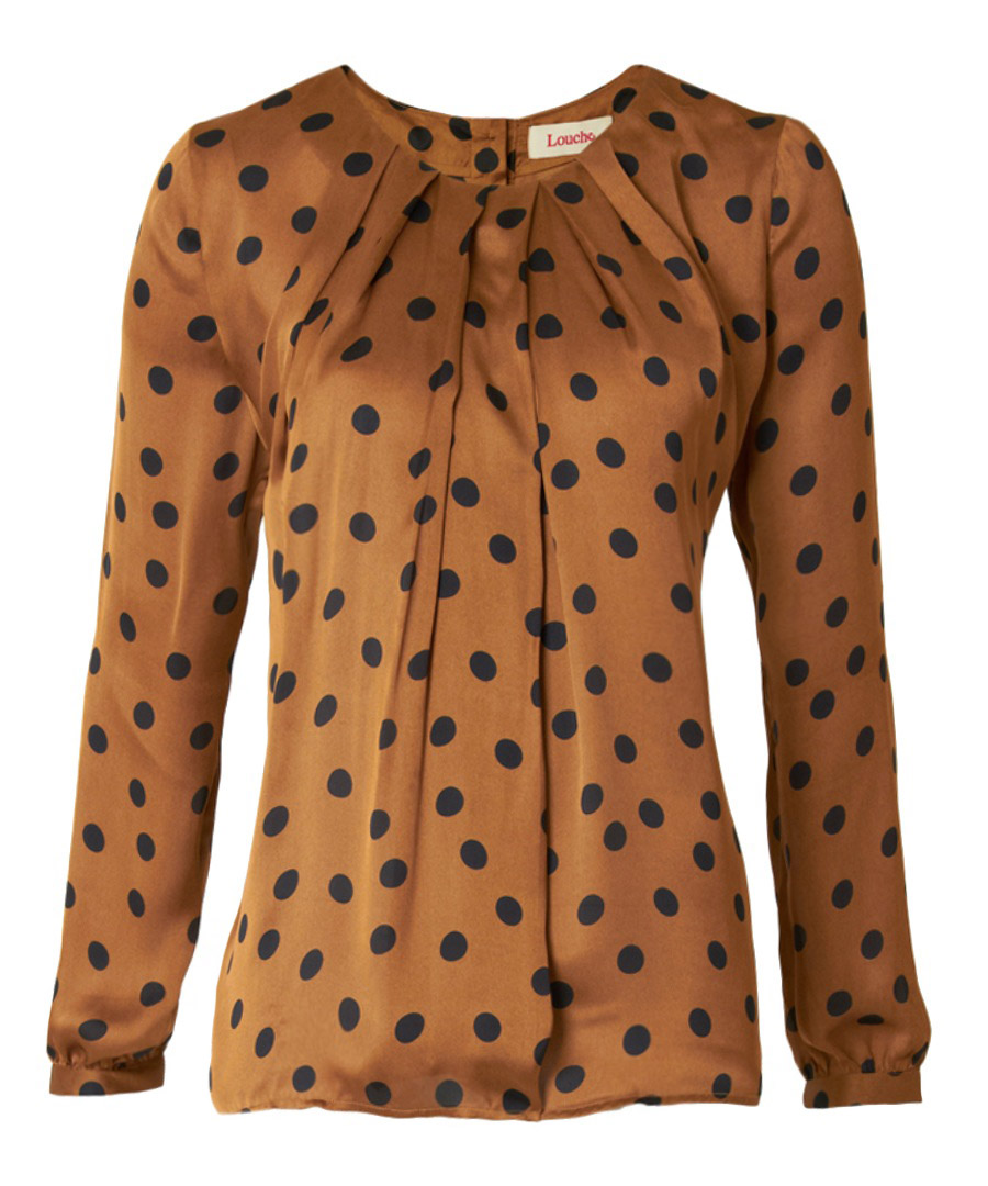 Milo gold satin spot pleat blouse Sale - Louche