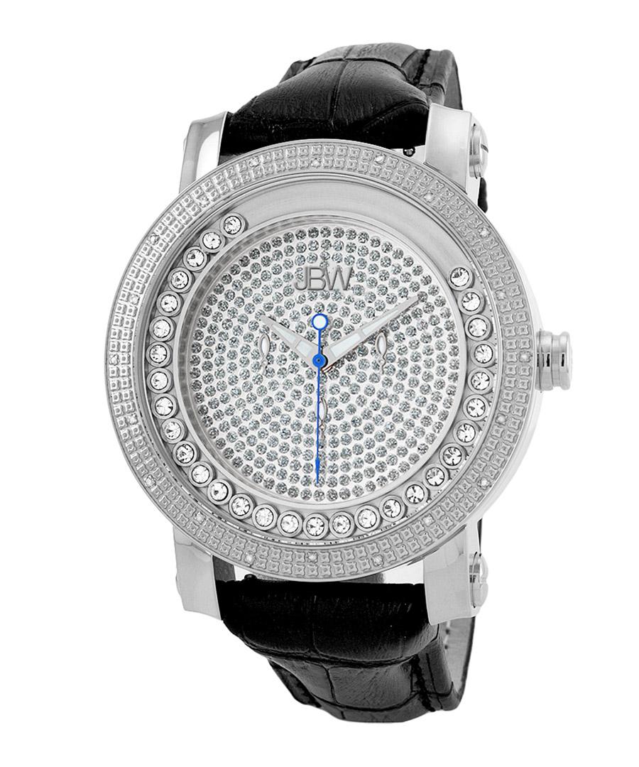 Hendrix black leather & diamond watch Sale - jbw