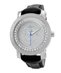 Hendrix black leather & diamond watch