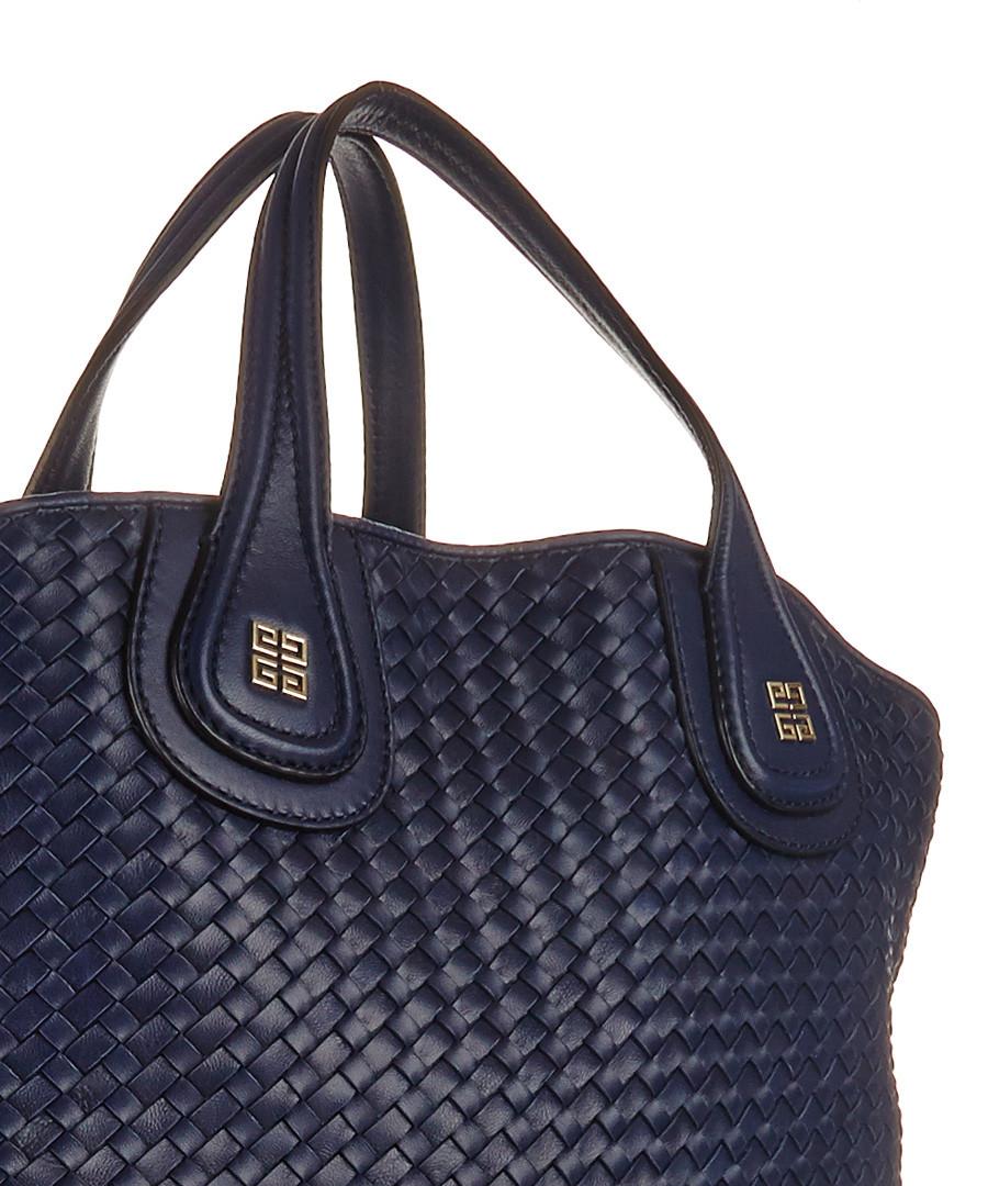 discount navy woven leather tote bag secretsales. Black Bedroom Furniture Sets. Home Design Ideas