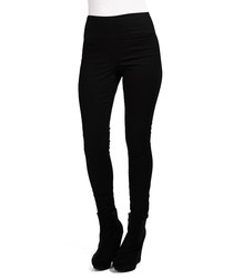 Black cotton blend high waist leggings