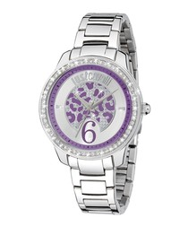 Stainless steel crystal dial watch