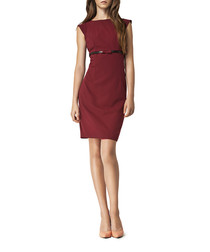 Bordeaux tailored belted dress