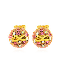Grace gold-tone pink Swarovski earrings