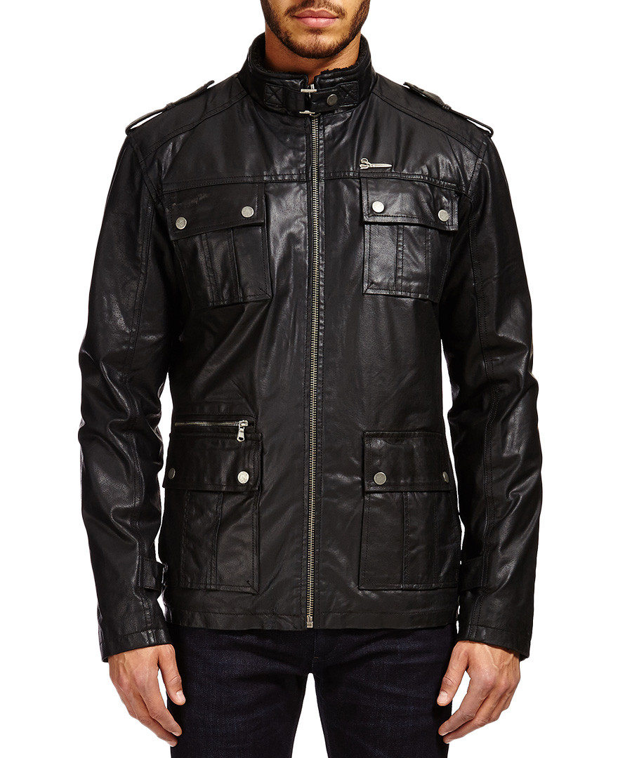 Black leather field jacket Sale - Barney's Originals