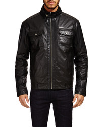 Men's Black high collar leather jacket
