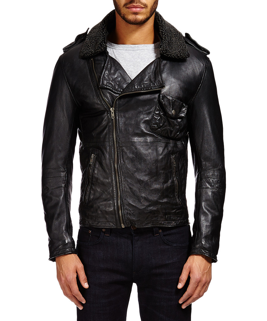 Black leather collared biker jacket Sale - Barney's Originals