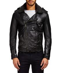 Black leather collared biker jacket