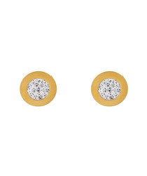 18k gold-plated pavé crystal earrings