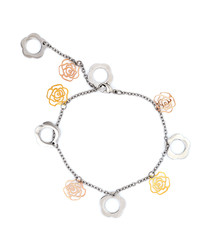 18ct dual-tone plated clover bracelet