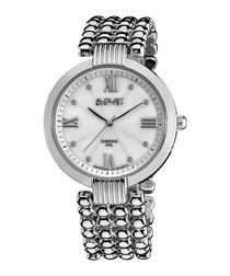 Silver-tone & diamond bracelet watch