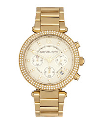 Gold-tone & crystal bezel steel watch