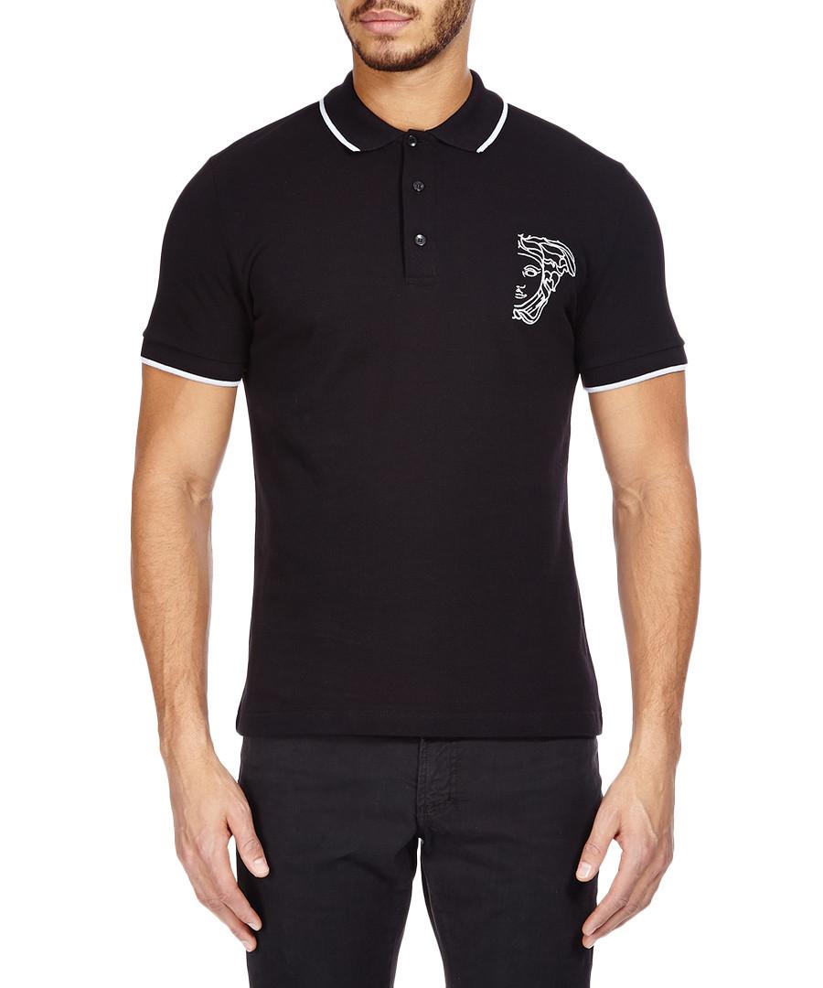 Discount medusa black cotton polo shirt secretsales for Black cotton polo shirt