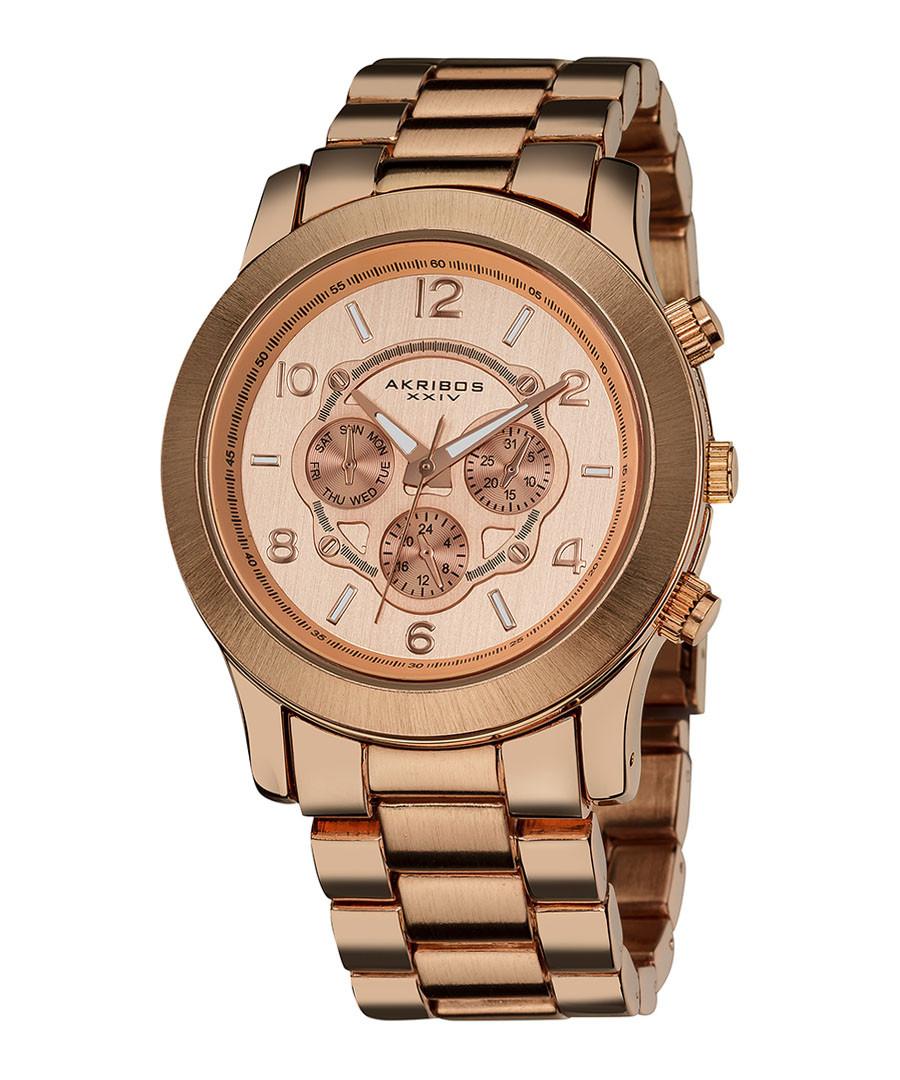 Rose gold-tone steel watch Sale - Akribos XXIV