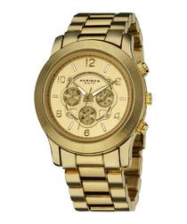 Gold-tone link steel watch