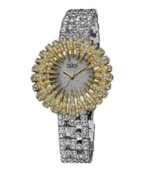 Gold-tone dazzling crystal watch