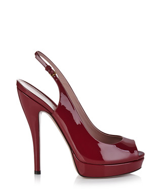 Bordeaux patent leather peep toe heels
