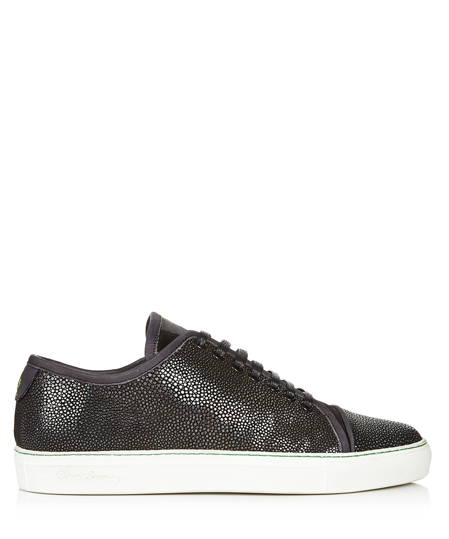 New Riva black shagreen leather trainers Sale - OS X Proudlock