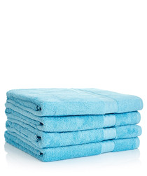 Image of 4pc aqua Egyptian cotton bath sheets