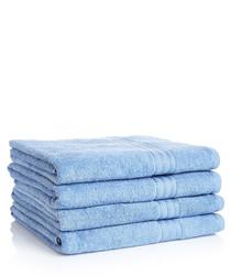 Image of 4pc blue Egyptian cotton bath sheets