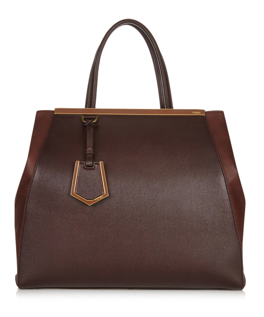 2jours brown leather tote Sale - fendi