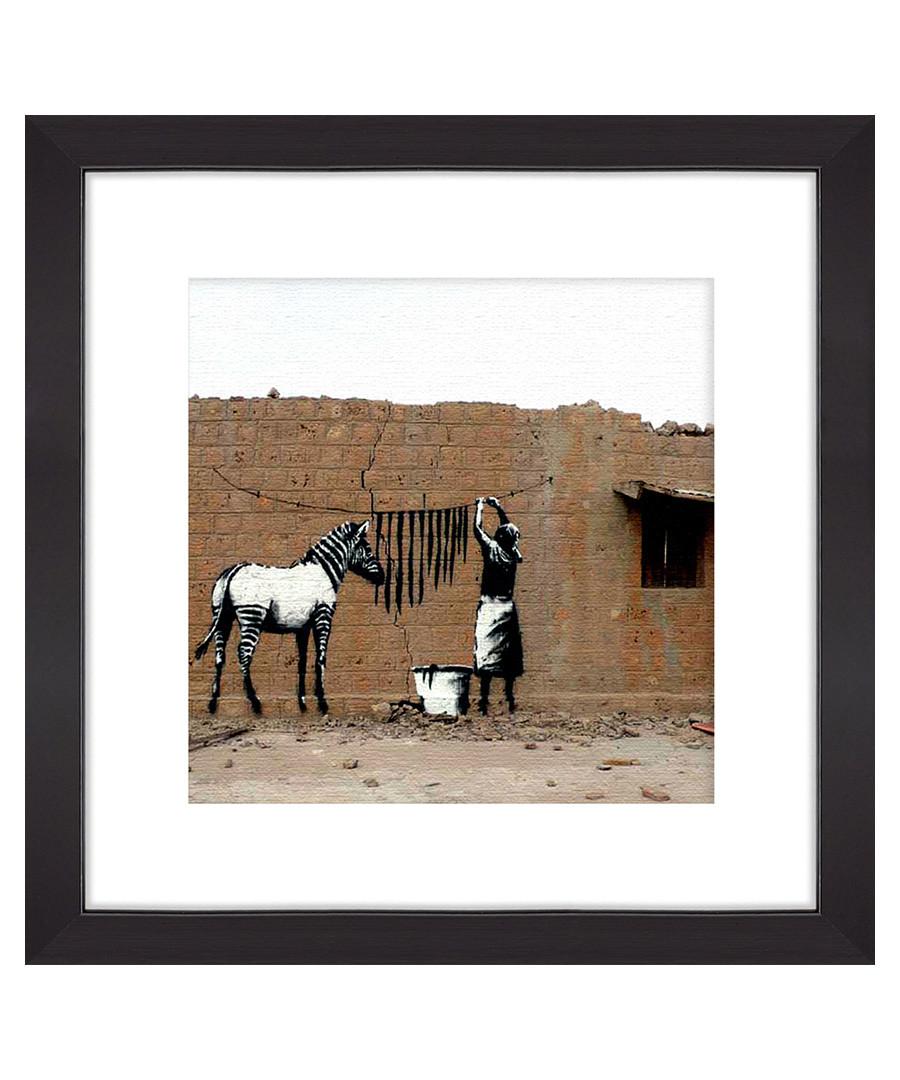 Hanging Zebra Stripes framed print 30cm Sale - banksy