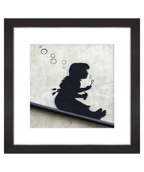 Girl Blowing Bubbles framed print 30cm