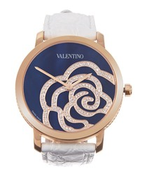 Rose gold-plated white leather watch